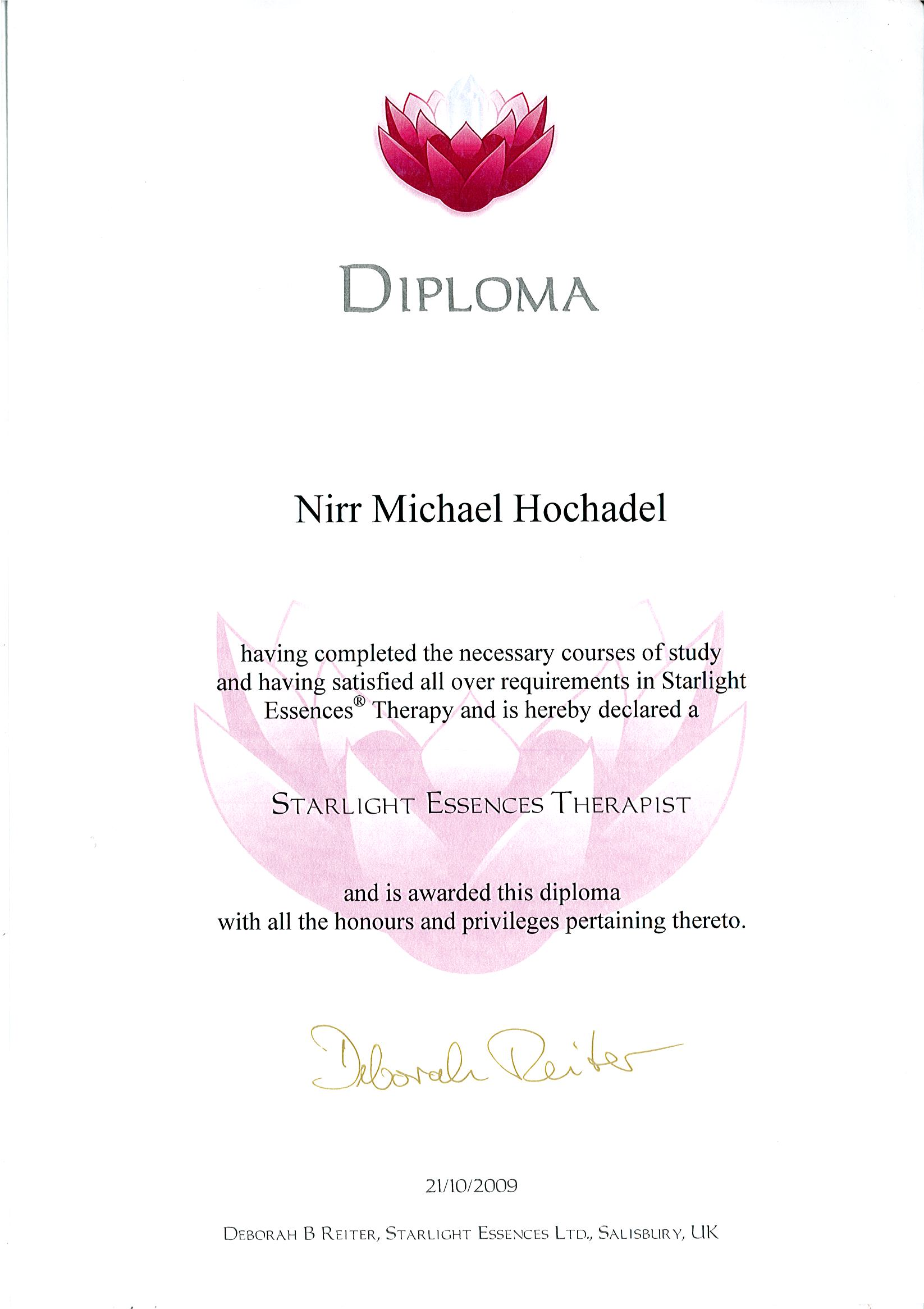 Diploma Starlight Essences Therapist